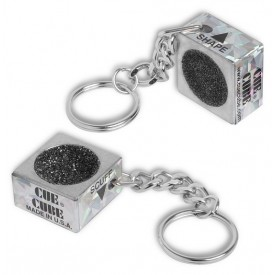 Cue tip shaper and scuffer key chain, Silver, cue cube